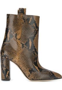 Paris Texas Ankle Boot Com Animal Print - Marrom