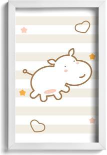 Quadro Infantil Quartinhos Hipopótamo Marrom 22X32Cm Moldura Branca