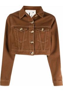 L'Autre Chose Jaqueta Jeans Cropped - Marrom
