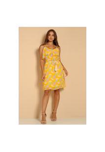 Vestido Alça Estampado Atelier Lily Daisy Ld027 Amarelo