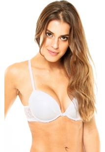 Sutiã Valisere Push-Up Bordado Liso Branco