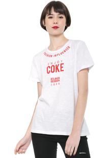Camiseta Coca-Cola Jeans Fashion Influencer Branca