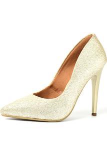 Scarpin Factor Salto Alto - Glitter Ligth Ouro - Kanui