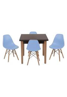 Conjunto Mesa De Jantar Luiza 80Cm Preta Com 4 Cadeiras Eames Eiffel - Azul Claro