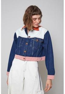 Jaqueta Jeans Oh, Boy! Detalhes Color Feminina - Feminino