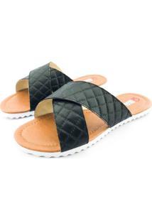 Rasteira Quality Shoes Feminina 008 Matelassê Preto 38 38