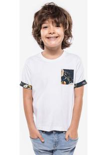 Camiseta Niños Branca Detalhe Floral 500034