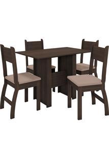 Conjunto De Mesa E 4 Cadeiras Para Sala De Jantar Milano Fosco-Poliman - Amêndoa / Savana