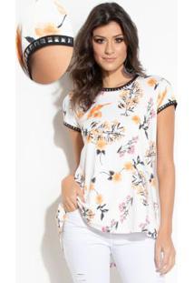 Blusa Floral Alongada Com Aplicações
