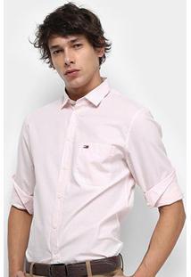Camisa Manga Longa Tommy Jeans Solid Poplin Shirt Masculina - Masculino-Rosa