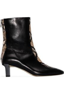 Aeyde Ankle Boot Molly Com Efeito De Pele De Cobra E Salto 55Mm - Preto