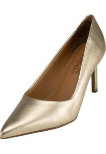 Scarpin Delotto Soft Clássico Couro Dourado - Tricae