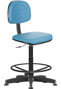 Cadeira Caixa Alta Secretária Giratória Courvin Azul Claro