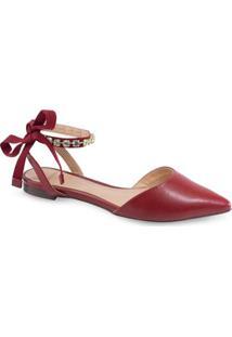 Sandália Bico Fino La Femme Amarração Feminina - Feminino-Vermelho