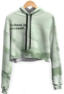 Blusa Cropped Moletom Feminina Over Fame Belive Tie Dye Md28 - Verde - Feminino - Poliã©Ster - Dafiti