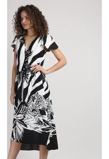 Vestido Feminino Midi Mullet Estampado Animal Print Zebra Com Botões E Babado Na Manga Preto