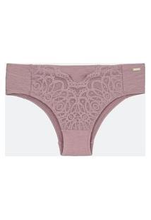 Calcinha Mescla Com Renda Curve E Plus Size Rosa
