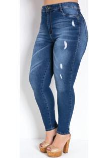 Calça Jeans Cigarrete Com Puídos Plus Size