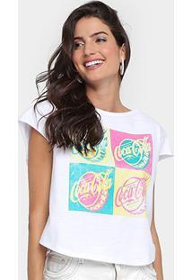Camiseta Coca-Cola Silk Quadro Feminina - Feminino-Branco