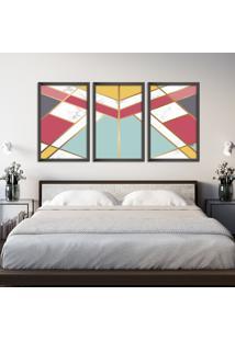 Quadro 60X120Cm Abstrato Escandinavo Coloridos Geométrico Triangulos Moldura Preta Sem Vidro - Mod: Oh5704