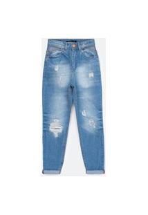 Calça Mom Jeans Com Espelho Do Bolso Vazado E Puídos | Blue Steel | Azul | 36