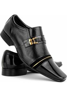 Sapato Social Masculino Venetto Verniz - Masculino-Preto+Dourado