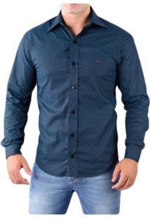Camisa Pazan Slim Fit Premium Manga Longa Azul