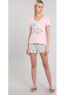 "Pijama Feminino ""I Love Milk"" Manga Curta Rosa"