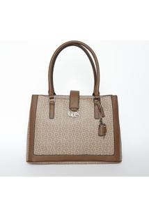 Bolsa Com Recortes & Bag Charm- Bege Escuro & Marromguess