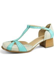 Sandália Sapatofran Retro Vintage Off-White E Azul