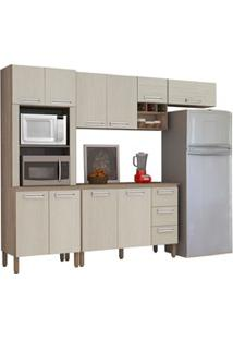 Cozinha Compacta Ametista Com Balcão 10 Portas Composição 7 Nogal/Aren