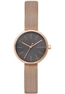 Relógio Skagen Signatur Feminino - Feminino-Bronze