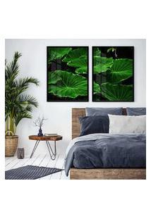 Quadro 65X90Cm Folhagem Verde Jardim Moldura Preta E Vidro