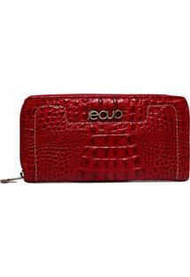 Carteira Em Couro Recuo Fashion Bag Croco Cereja