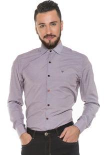 Camisa Hugo Rossi Listrada Branca Com Roxo