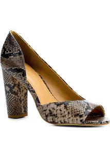 7a256a77a ... Peep Toe Couro Shoestock Salto Alto Snake - Feminino-Cinza