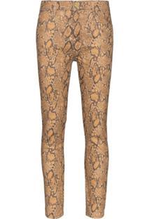 Frame Calça Jeans Cintura Alta Com Efeito De Cobra - Marrom