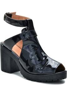 Bota Tratorada Pórtice Verniz Ankle Boot Feminina - Feminino-Preto