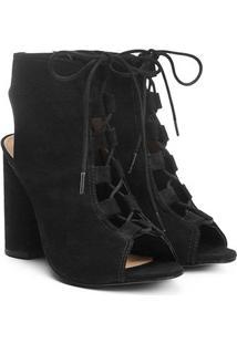 Sandália Couro Shoestock Salto Grosso Lace Up Feminina - Feminino