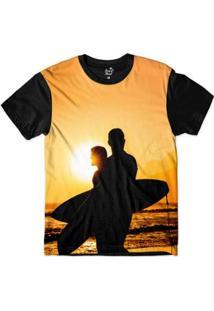 Camiseta Long Beach Lb Sol Sublimada Masculina - Masculino-Laranja+Preto