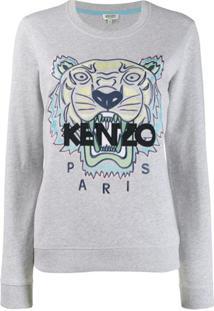 Kenzo Suéter Com Logo E Tigre - Cinza