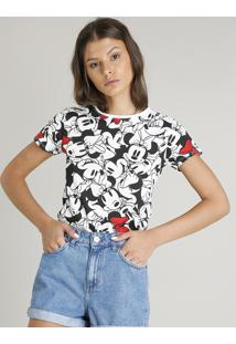 Blusa Feminina Estampada Minnie Mouse Manga Curta Decote Redondo Off White