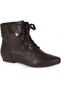 Ankle Boots Feminina Mooncity Dobrada Marrom