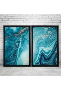 Quadro Love Decor Com Moldura Chanfrada Elemental Azul Preto - Grande
