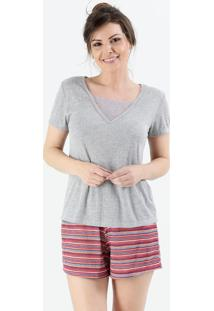 Pijama Feminino Short Doll Listrado Renda Marisa