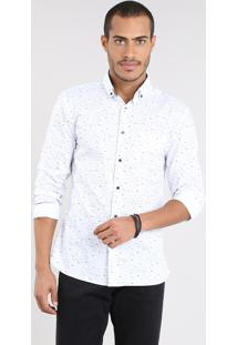 Camisa Masculina Slim Estampada Com Bolso Manga Longa Off White