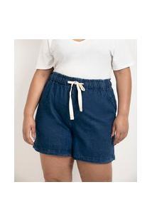 Short Jeans Liso Com Amarração Na Cintura Curve & Plus Size | Ashua Curve E Plus Size | Azul | 46