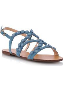 Sandália Rasteira Tiras Azul Com Aplicações
