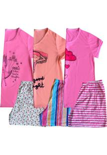 Kit 3 Short Doll Plus Size Manga Curta Feminino Adulto