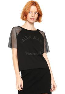 Camiseta Calvin Klein Jeans Tule Preta